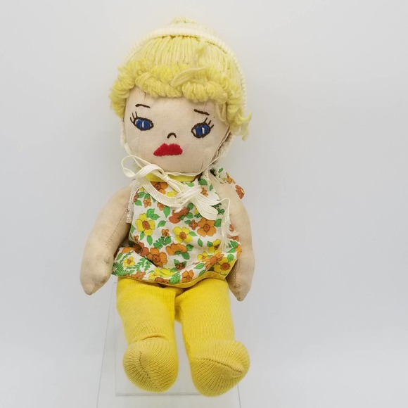 Vintage Handmade Rag Doll Button Jointed Movable articulated Embroidered toy